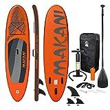 ECD Germany Aufblasbares Stand Up Paddle Board Makani   320 x 82 x 15 cm   Orange   PVC   bis 150 kg   Pumpe Tragetasche Zubehör   SUP Board Paddling Board Paddelboard Surfboard   verschiedene Modelle