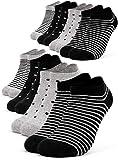 Occulto 8 Paar Damen Sneakersocken Füßlinge mehrfarbig mit Streifen und Punkten 39-42, Schwarz