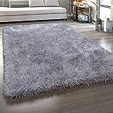 Paco Home Hochflor-Teppich, Shaggy Mit Glanz-Effekt, Einfarbig in versch. Farben u. Größen, Grösse:80x150 cm, Farbe:Grau