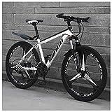 Unbekannt Mountain Bikes, 24 Zoll-Männer Frauen Carbon Steel Fahrrad, All Terrain Mountain Bike mit Doppelscheibenbremse,Weiß,27Speed