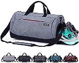 CoCoMall, Sporttasche mit Schuhfach und Nasstasche, Reisetasche für Damen und Herren L grau