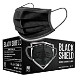 BLACK SHIELD - CE Zertifiziert - Schwarze Medizinische Gesichtsmaske gemäß DIN EN 14683 Typ I - BFE ≥ 95% - 50 Stück