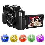 Digitalkamera Fotoapparat Digitalkamera Kamera 1080P Full HD Fotokamera 30.0MP YouTube Videokamera 3,0 Zoll Flip Screen 16X Digitalzoom mit Weitwinkelobjektiv Kompaktkamera MiniKamera
