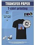 PPD Inkjet T-Shirt Transferpapier Transferfolie Bügelfolie für dunkle Textilien und Tintenstrahldrucker DIN A4 x 5 Blatt PPD-4-5