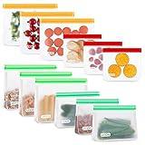 UOON Lebensmittel Beutel,12 Pack Wiederverwendbare Sandwich Snack Taschen, Mehrzweck PEVA Küche Aufbewahrungsbeutel mit Zip,Gefrierbeutel Kühltaschen BPA-Frei für Hause Obst,Gemüse,Brot, Fleisch