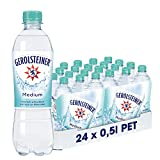 Gerolsteiner Medium / Natürliches Mineralwasser mit wenig Kohlensäure und wertvollem Calcium und Magnesium / 24 x 0,5 L PET Einweg Flaschen