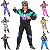 Foxxeo 80er Jahre Kostüm für Erwachsene Premium 80s Trainingsanzug Assianzug Assi - Herren Größe S-XXXXL - Fasching Karneval Anzug, Farbe schwarz-grün-lila, Größe: M