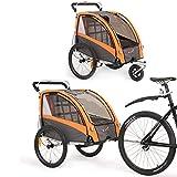 Kinderfahrradanhänger und Kinderwagen 2 in 1 Anhänger Jogger für Kinderfahrradanhänger mit Buggy-Set + Federung BT504S (Orange)