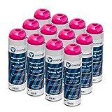 Markierungsspray leuchtend pink clickandtools® 12'er Pack mit Spezialsprühkopf, schnell trocknend