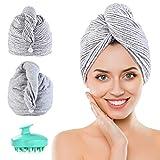 PRETTY SEE Haarturban,2 Stück Mikrofaser Turban Handtuch Bambuskohlefaser mit Knopf,Haartrockentuch Schnelltrocknend Saugfähig für Alle Haartypen,1 Kopfhaut Massage Bürste Gratis