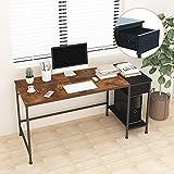 JOISCOPE Computertisch, Bürotisch,Schreibtisch mit Schubladen, Regale, Arbeitstisch,fürs Büro, Wohnzimmer Industrietisch,einfache Montage,60 Zoll (Eiche Vintage-Ausführung)…