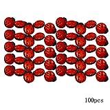 AiSi 100 Stück Kunststoff 3D Marienkäfer Knopf/Knöpfe Kinderknöpfe Für Nähen Basteln Handwerk Näharbeit DIY Werkzeug Dekoration 2 * 1.8cm Siebenpunkt Marienkäfer Rot