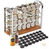 EZOWare Gewürzregal Gewürzständer mit 24 Gewürzgläser Flaschen und Etiketten für Arbeitsplatte, Schrank, Küche, Speisekammer - Silber