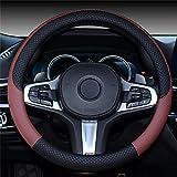 Pahajim Lenkradhülle Lenkrad Abdeckung PU Leder Anti Rutsch Lenkradabdeckung Universal Auto Lenkrad Bezuege 38cm (Weinrot)