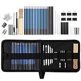 Zekkai Skizzierstifte Set, 42 Stücke Bleistift Set Zeichnen Skizzieren Stifte Profi Art Werkzeug Set Skizzierset mit Zeichnen Zubehör Set für Künstler, Anfänger, Erwachsene und Kinder