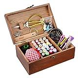 Isoto Nähkasten aus Holz mit Zubehör, Vintage-Organisationsbox für Mutter, Oma, Mädchen, Damen, Hobbyist, Haushalt, Geschenk
