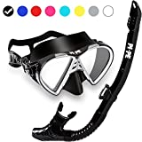PI-PE Profi Schnorchelset mit Taucherbrille und Dry Schnorchel für Erwachsene - Schwarze Tauchmaske mit Snorkel für Damen und Herren - Anti Fog Glas Schnorchelmaske Taucherset