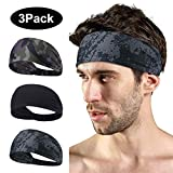 LATTCURE Sport Stirnband, Stirnband 3 Packs, Sport Stirnbänder Schweißband Anti Rutsch für Jogging, Laufen, Yoga, Tennis, Wandern, Fahrrad und Motorrad Fahren