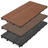 casa pura WPC Terrassenfliesen Prestige   Terrassendielen 60x30 cm   klick Fliese in Holz Optik   Testnote GUT   einzeln oder im Set   anthrazit (11 Stück / 2 m²)