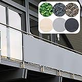 Balkon Sichtschutz PVC | 90x600 cm | Extra Blickdicht | Balkonverkleidung aus wetterfestem Kunststoff mit UV-Schutz | Deko für Balkongeländer, Terrasse & Garten | viele Farben & Designs (Grau)
