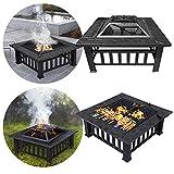 LZQ 3 in 1 Feuerstelle mit Grillrost Multifunktional Quadratisch Fire Pit für Heizung/BBQ mit wasserfeste Schutzhülle