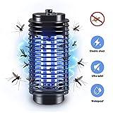 QUTAII Insektenvernichter elektrische Insektenfalle, UV Insektenfalle Mückenlampe, Mückenschutz, Mückenfalle chemiefrei Innen Außeneinsatz, Schwarz