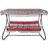 PATIO Hollywoodschaukel Gartenschaukel Milano 3-Sitzer klappbar Liegefunktion 170 cm C038-13BB (Baumwolle, rot-grau)