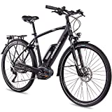 CHRISSON 28 Zoll Herren Trekking- und City-E-Bike - E-Actourus schwarz matt - Elektro Fahrrad Herren - 10 Gang Shimano Deore Schaltung - Pedelec mit Mittelmotor Performance Line 250W, 63Nm
