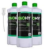BiOHY Bodenreiniger für Wischroboter (3x1l Flasche) + Dosierer | Konzentrat für alle Wisch & Saugroboter mit Nass-Funktion | nachhaltig & ökologisch