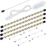 Anpro 4Stk LED Unterbauleuchte-Kit,LED Band 240 LEDs flexible LED-Lichtleiste 4x50cm, USB Schrankleuchte für Küche, Schrank, Schreibtisch, Monitor, Warm Weiß (2800-3000k),Weiß (6000-6500K)