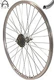 Redondo 26 Zoll Hinterrad Laufrad Hohlkammer V-Prof Felge + 7-Fach Kranz Silber