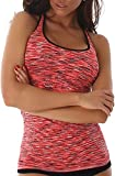 Jela London Damen Fitness-Top Träger Stretch eng figurbetont Tanktop Jogging Sportswear (DE 32 34 36) Apricot Orange