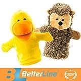 BETTERLINE Tier Handpuppen 2er Set - Premium Qualität, 24 cm Weicher Plüsch Handpuppen für Kinder - perfekt zum Geschichtenerzählen, Lehren, Vorschule, Rollenspiel (Igel und Ente)