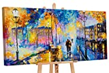 YS-Art | Made in Europe | Acryl Gemälde Romantischer Abend | Handgemalte Leinwand Bilder | 130x70cm | Wandbild Acrylgemälde | Moderne Kunst | Leinwand | Unikat | Blau