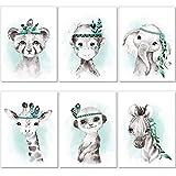 artpin® 6er Set Bilder Kinderzimmer Jungen Mädchen in Mint Grau Feder - Poster Wald Dschungel Babyzimmer Indianer Tiere P62