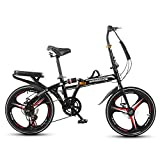 SYCHONG Faltrad 20Inch, Folding City Bike, Single Speed, Stoßdämpfer Bremsen, Komplett Vormontiert, Verfügbar Für Erwachsene Kinder Studenten Kleines Fahrrad,Schwarz