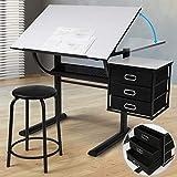 MIADOMODO Zeichentisch mit Hocker - Tischplatte stufenlos neigbar, inkl. Schrank mit 3 Schubladen, Weiß Schwarz - Schreibtisch, Bürotisch, Arbeitstisch, Architektentisch für Architekten und Techniker