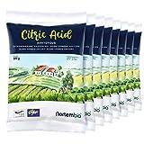 NortemBio Zitronensäure 4 Kg (8x500g). Wasserfreies Citronensäure Pulver, 100% Reine. Für Ökologischen Produktion. E-Book Inklusiv.