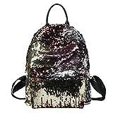 Tinksky Sequins Paillette Rucksack Casual Satchel Schultertasche Umhängetasche für Outdoor Sport Wandern Daypacks für Mädchen Frauen (Golden)