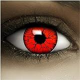 Farbige rote Kontaktlinsen Devil + Kunstblut Kapseln + Behälter von FXCONTACTS®, weich, ohne Stärke als 2er Pack - perfekt zu Halloween, Karneval, Fasching oder Fasnacht