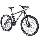 CHRISSON 29 Zoll Mountainbike Fully - Hitter FSF grau blau - Vollfederung Mountain Bike mit 30 Gang Shimano Deore Kettenschaltung - MTB Fahrrad für Herren und Damen mit Rock Shox Federgabel
