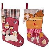 MELLIEX 2er Nikolausstrumpf, Groß Nikolausstiefel zum Befüllen als Weihnachtsgeschenktasche Hängende Strümpfe auf Kamin, Schaufenster, Weihnachtsdeko (45 cm * 22.5 cm)