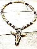 Wikinger-Kette in Schwarz, Weiß oder Hellbraun | Bullskull | Bullenschädel Perlenkette | Rocker-Schmuck | Biker-Schmuck | Wikinger-Schmuck | Wacken-Style