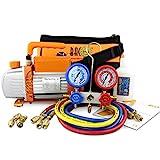 BACOENG 3CFM Vakuumpumpe Manifold Gauge Set für HVAC/Auto AC Kältemittelaufladung, Ideal für R407C R22 R134a R410A