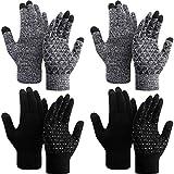 SATINIOR 4 Paar Winter Strickhandschuhe Strick Touchscreen Warme Handschuhe Anti-Rutsch Stretch Handschuhe für Männer und Frauen (Farbe 2, L)