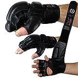 FOX-FIGHT Legend MMA Handschuhe professionelle hochwertige Qualität echtes Leder Boxhandschuhe Sandsack Training Grappling Sparring Kickbox Freefight Kampfsport BJJ Gloves schwarz, M