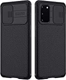 Handyhülle für Samsung Galaxy S20 5G Hülle CamShield, E-Lush Hülle Schiebekamera-Abdeckung Schutzhülle Ultra Dünn Premium Handy Tasche Stoßfest Hybrid PC Handyhülle Kratzfest Case Cover, Schwarz