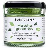 Matcha Tee Pulver 50g von PureChimp   Zeremonielle Qualität aus Japan   Pestizidfrei   Recycelbares Glasgefäß & Aluminiumdeckel