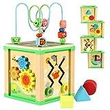 Lewo Aktivitätswürfel Holz Perlen Labyrinth Formen Sortierer Lernspielzeug für Kleinkinder