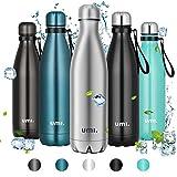 UMI. by Amazon - Trinkflasche Edelstahl, 750ml Vakuum Isolierte Thermosflasche, BPA Frei Wasserflasche Auslaufsicher, SportFlasche für Sport, Outdoor, Büro, Schule, Edelstahl
